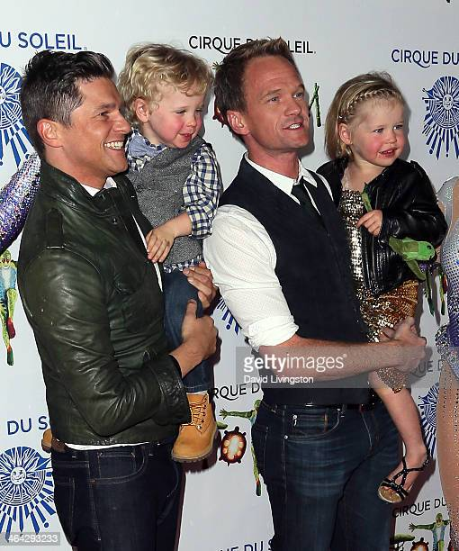 Chef David Burtka son Gideon Scott partner actor Neil Patrick Harris and daughter Harper Grace attend opening night of Cirque du Soleil's Totem at...