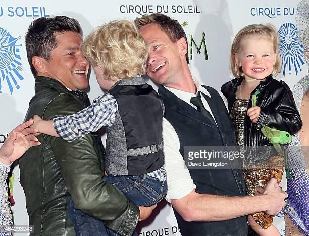 Chef David Burtka son Gideon Scott partner actor Neil Patrick Harris and daughter Harper Grace attend opening night of Cirque du Soleil's Totem at...
