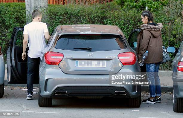 The licence plate has been pixelated Chef David Munoz and Cristina Pedroche are seen on March 29 2016 in Madrid Spain