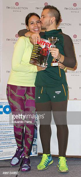 Chef David Munoz and wife Cristina Pedroche attend NH Collection Eurobuilding vertical Race at Eurobuilding hotel on November 29 2015 in Madrid Spain