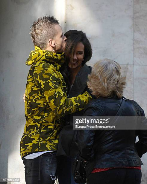 Chef David Munoz his girlfriend Cristina Pedroche and his mother Rosa Portillo are seen on September 17 2015 in Madrid Spain