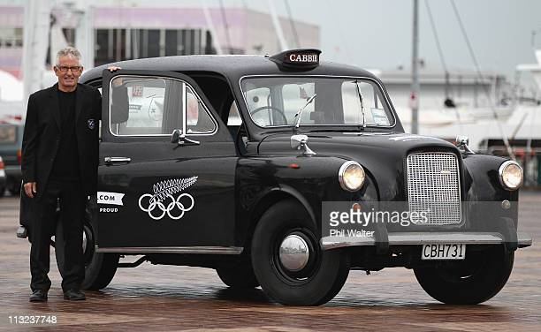 Chef de Mission Dave Currie poses with a London Cab during the New Zealand Olympic Committee's London 2012 Campaign Launch at Viaduct Harbour on...