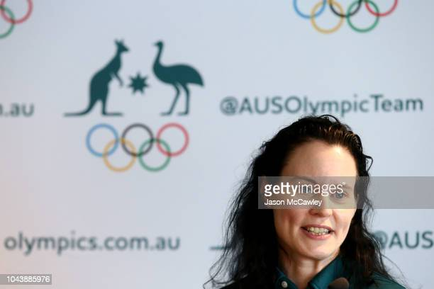 Chef de Mission Evelyn Halls speaks during the Australian Youth Olympic Games Flag Bearer Announcement at The Boathouse St Ignatius' College...