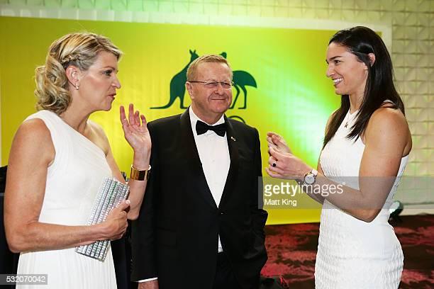 Chef de Mission for Australia at the 2016 Rio Olympics Kitty Chiller AOC President John Coates and Australian Olympian Michelle Jenneke speak during...