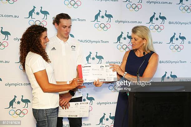 Chef de Mission for Australia at the 2016 Summer Olympics Kitty Chiller presents Jessica Fox with his Qantas boarding pass to Rio during the...