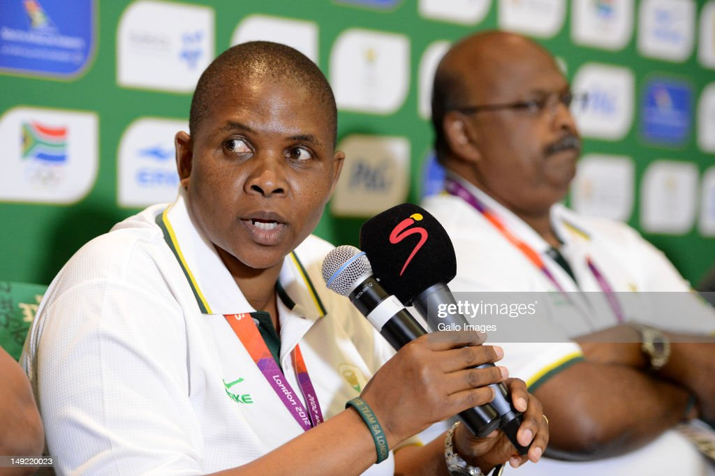 Chef de Mission of Team SA Patience Shikwambana during the South African Olympic Team Press Conference from Copthorne Tara Hotel, Kensington on July 25, 2012 in London, England.