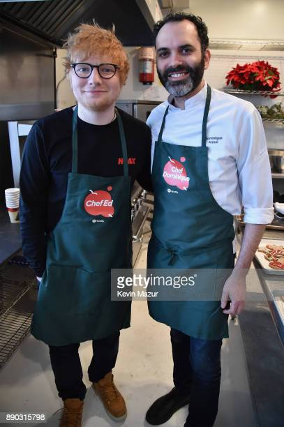 Chef Dominique Ansel and Ed Sheeran bake gingerED cookies with Ed Sheeran's biggest Spotify fans on December 8 2017 in New York City