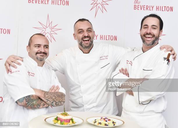 Chef du Cuisine Gianbattista Vinzoni Executive Chef Alberico Nunziata and Executive Sous Chef Matthew Morgan pose for portrait at The Beverly Hilton...