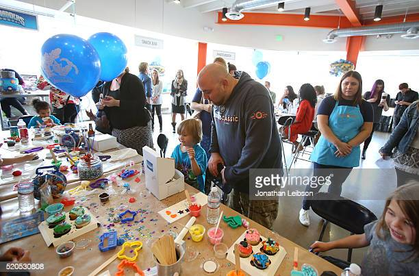 Chef Duff Goldman and guests help Skylanders celebrate the fifth year of the wildly popular videogame franchise at Duff's Cakemix on April 11 2016 in...