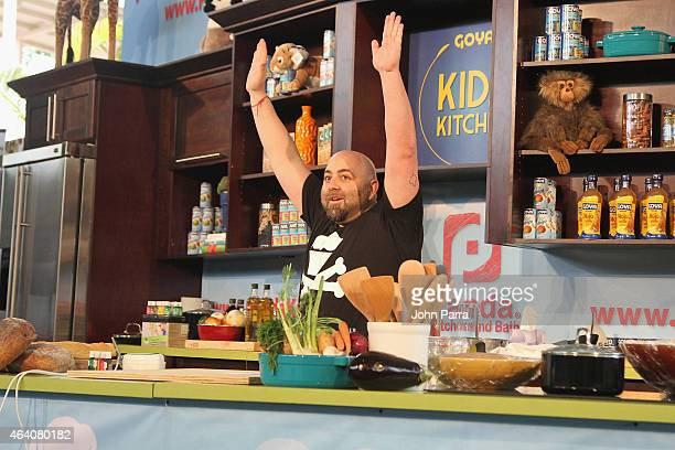 Chef Duff Goldman prepares food at Fun and Fit as a Family sponsored by Carnival featuring Goya Kidz Kitchen during the 2015 Food Network Cooking...