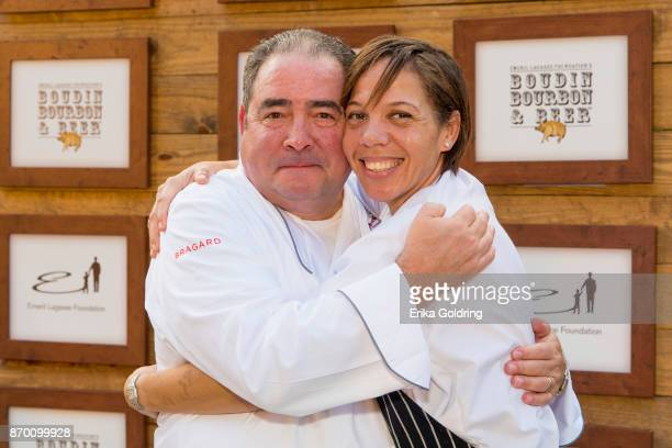 Chef Emeril Lagasse and Chef Nina Compton attend 2017 Boudin Bourbon and Beer at Champions Square on November 3 2017 in New Orleans Louisiana