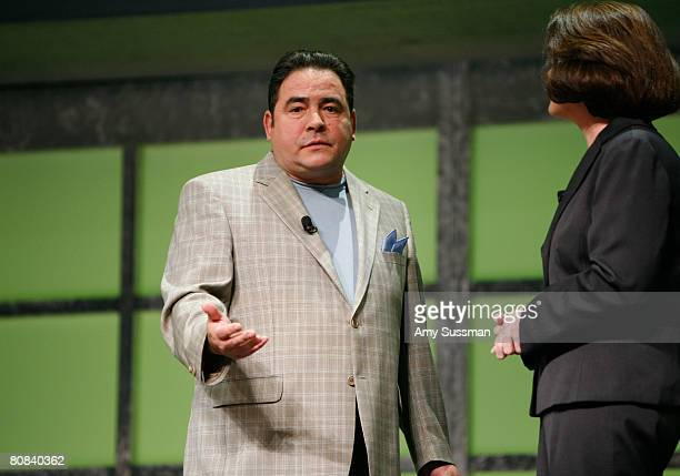 Chef Emeril Lagasse and general manager for Planet Green Eileen O'Neill speak at the Discovery Upfront event at Jazz at Lincoln Center on April 23...