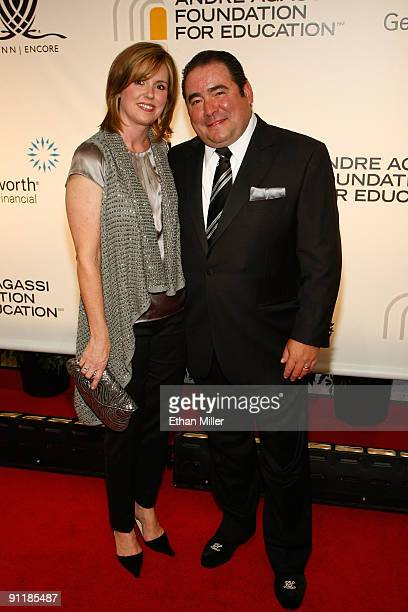 Chef Emeril Lagasse and wife Alden Lovelace arrive at the 14th annual Andre Agassi Charitable Foundation's Grand Slam for Children benefit concert at...