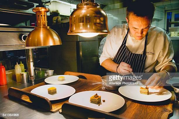 Chef Emmanuel Renaut at Work at Restaurant Flocons de Sel