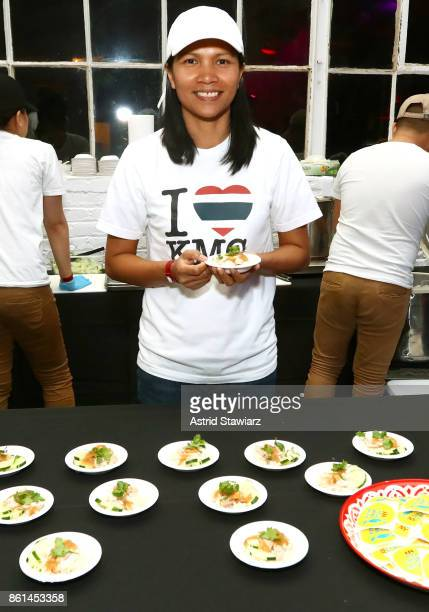 Chef Emorn Jamalee Henshaw poses with their dish Khao Man Gai during Street Eats hosted by Ghetto Gastro at Industria on October 14 2017 in New York...