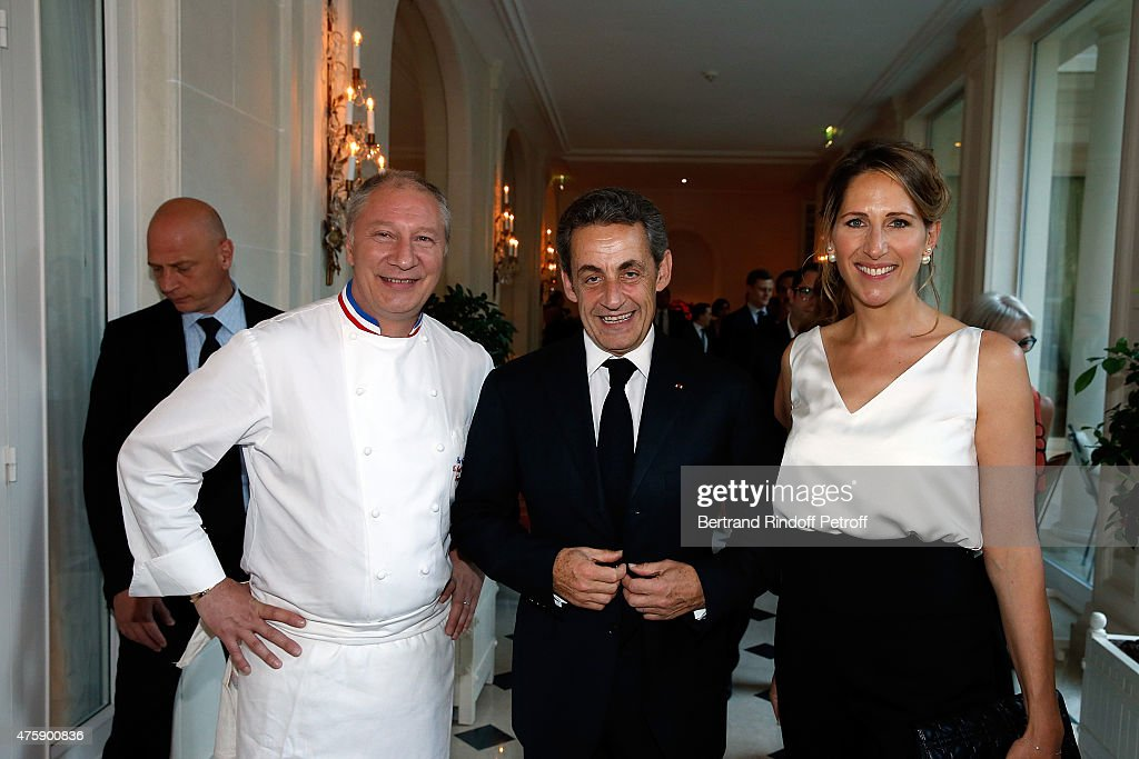Chef Eric Frechon, Nicolas Sarkozy and Maud Fontenoy attend the Charity Dinner benefit the Maud Fontenoy Foundation for Preserve Oceans at Hotel Bristol on June 4, 2015 in Paris, France.