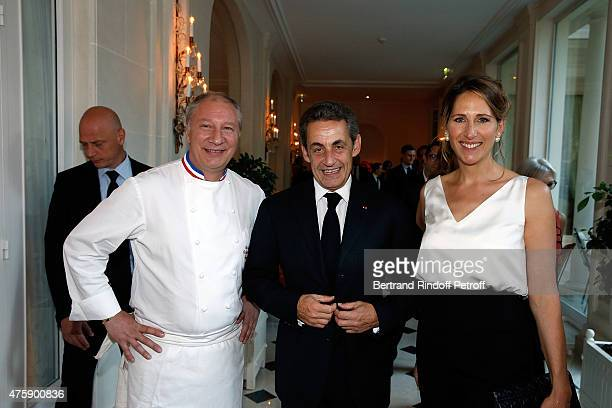 Chef Eric Frechon Nicolas Sarkozy and Maud Fontenoy attend the Charity Dinner benefit the Maud Fontenoy Foundation for Preserve Oceans at Hotel...