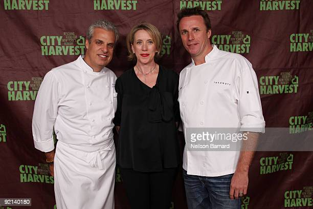 Chef Eric Ripert, City Harvest Executive Director Jilly Stephens and chef Marc Murphy attend City Harvest's 15th Annual Bid Against Hunger restaurant...
