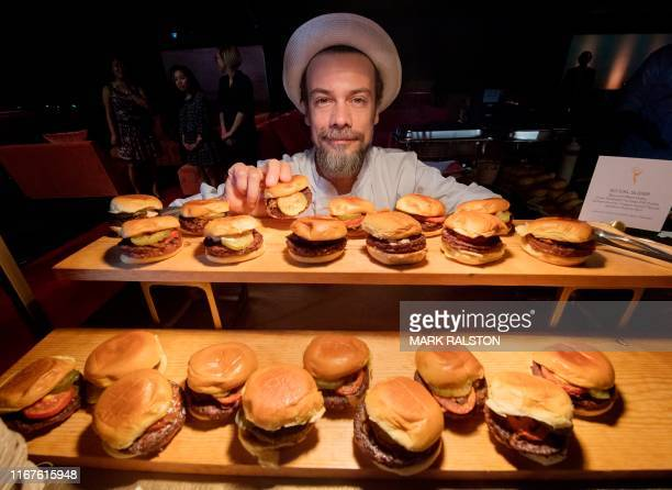 Chef Fernando with SoCal Sliders from Patina Catering that will be served at the 71st Emmy Awards Governors Ball press preview at LA Live in Los...