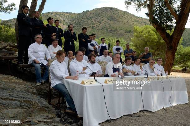Chef Ferran Adria gives a press conference on the last day for restaurant El Bulli before closing its door on July 30 2011 in Girona Spain After...