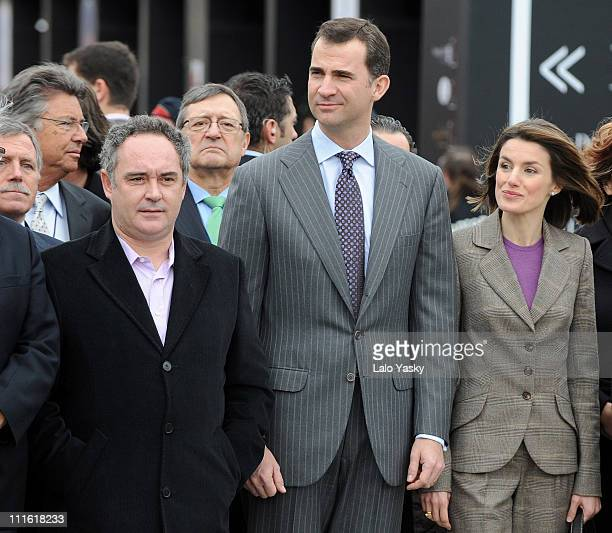 Chef Ferran Adria Prince Felipe and Princess Letizia of Spain attend the opening of the international gastronomic fair ALIMENTARIA 2008 at the FIRA...