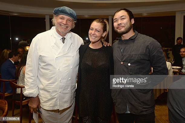 Chef Francis Mallmann Marketing Manager Marchesi di Barolo Wines Valentina Abbona and Chef Paul Qui speak at a Dinner Hosted By Francis Mallmann And...