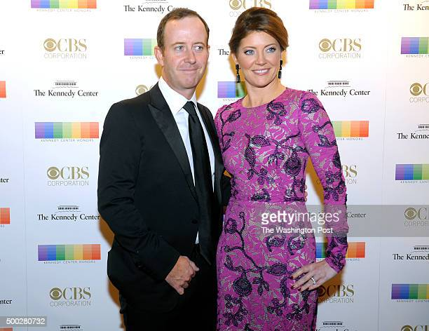 Chef Geoff Tracy and Nora O'Donnell walk the red carpet before the Kennedy Center Honors December 06 2015 in Washington DC The honorees include...