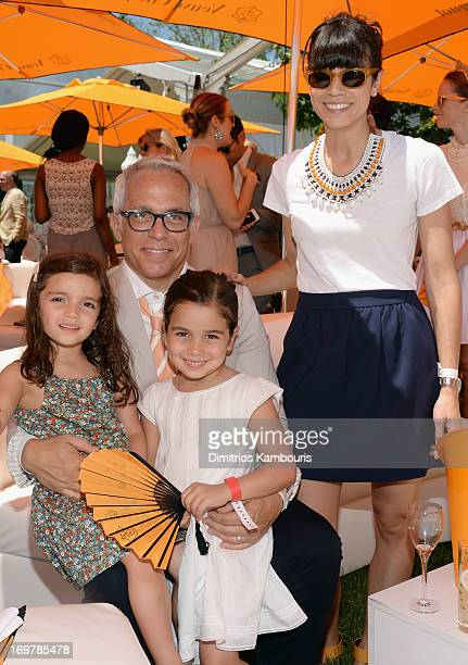 Chef Geoffrey Zakarian and Margaret Anne Williams pose with their children at the VIP Marquee during the sixth annual Veuve Clicquot Polo Classic on...