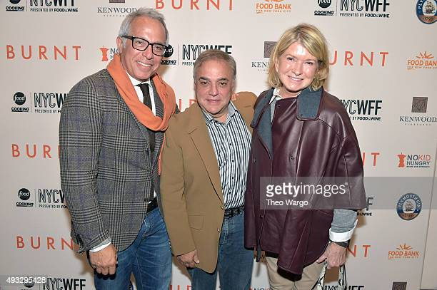 Chef Geoffrey Zakarian Founder Director of SOBEWFF and NYCWFF Lee Schrager and Martha Stewart attend the Private Screening Of BURNT QA Panel And...