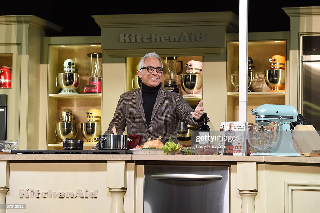 Chef Geoffrey Zakarian gives a cooking demonstration at the Grand Tasting presented by ShopRite featuring KitchenAid® culinary demonstrations presented by MasterCard during the Food Network New York City Wine & Food Festival Presented By FOOD & WINE at Pier 94 on October 19, 2014 in New York City.