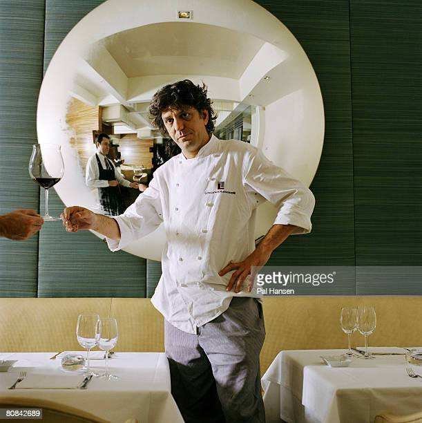 Chef Giorgio Locatelli poses for a portrait shoot for the Sunday Herald maagzine in London on June 27 2003