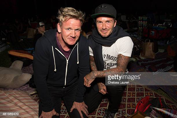Chef Gordon Ramsay and athlete David Beckham attend the 'Willy Wonka and the Chocolate Factory' screening at Cinespia at Hollywood Forever on July 25...
