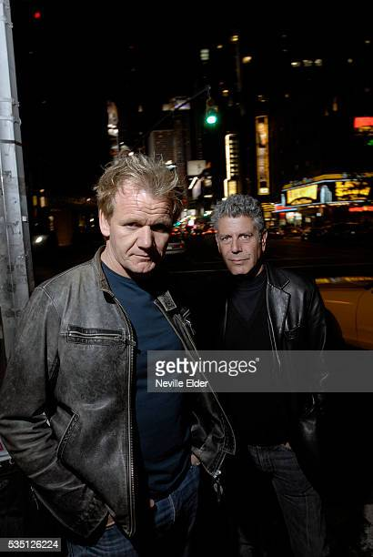 Chef Gordon Ramsay and food writer and chef Anthony Bourdain walk to dinner after viewing the refurbishment at The London Ramsey's new restaurant in...