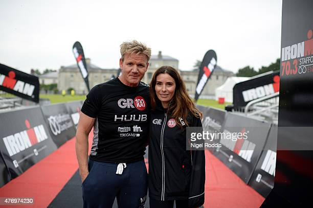 Chef Gordon Ramsay and his wife Tana for pictures on the podium ahead of Ironman 703 Staffordshire on June 13 2015 in Lichfield England