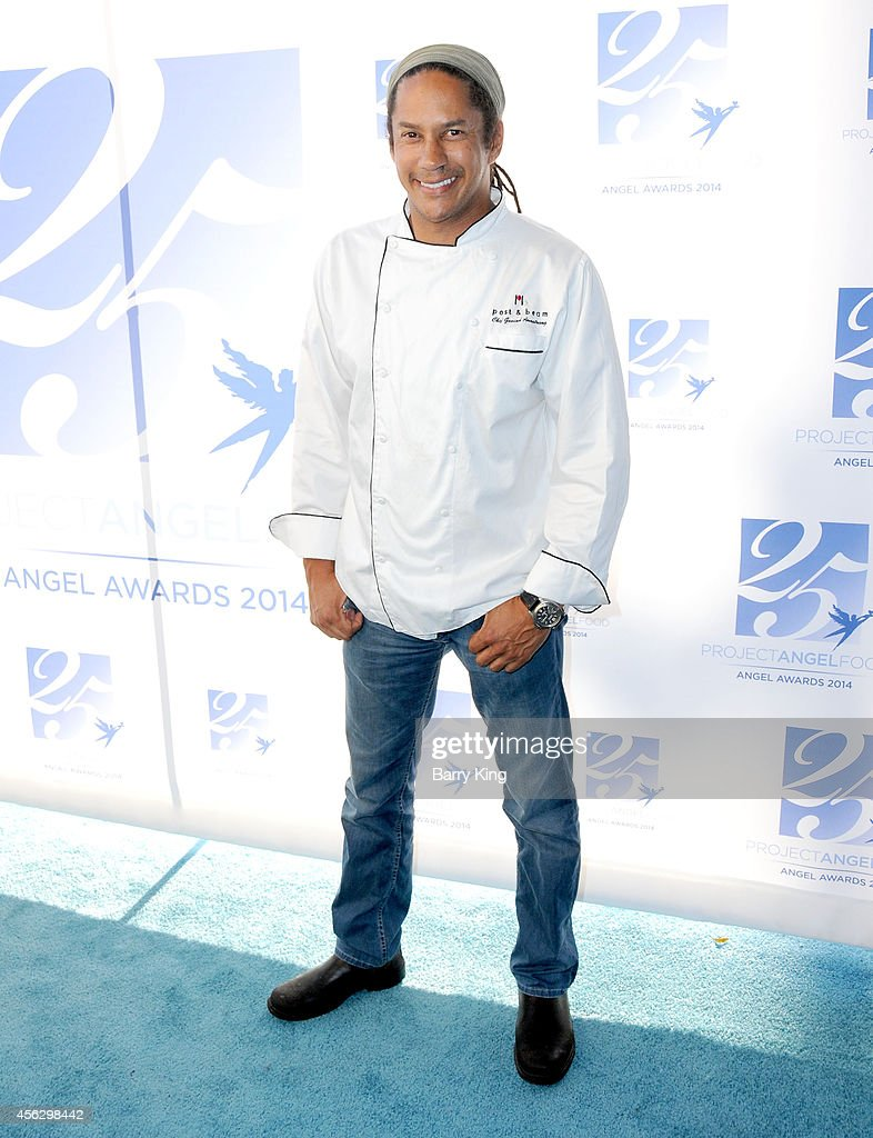 Chef Govind Armstrong arrives for Project Angel Food Celebrates 25 Years With 2014 Angel Awards at Project Angel Food on September 6, 2014 in Los Angeles, California.