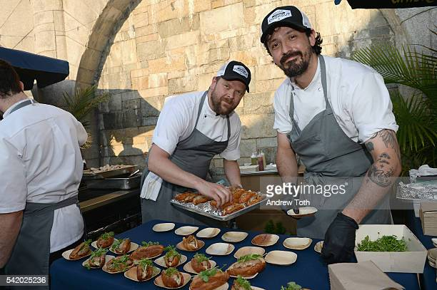 Chef Gunnar Gíslason prepares a dish during The 7th Annual Saveur Summer Cookout at Boat Basin Cafe on June 21 2016 in New York City