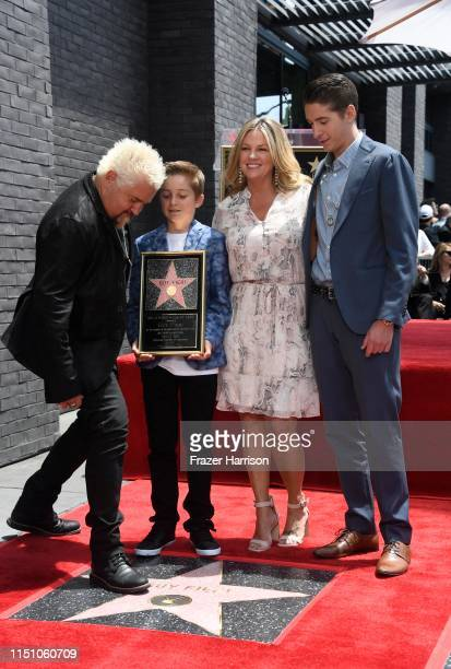 Chef Guy Fieri with his family Ryder Fieri Lori Fieri and Hunter Fieri attend the 2664th Star on the Hollywood Walk of Fame ceremony honoring Guy...