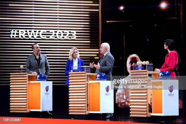 Chef, Guy Savoy is interviewed during the Rugby World Cup France 2023 draw at Palais Brongniart on December 14, 2020 in Paris, France