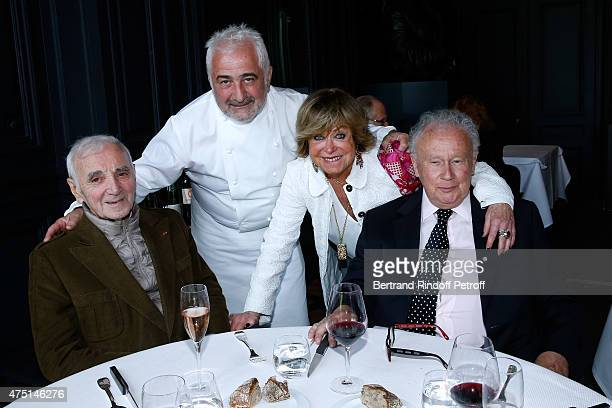 COVERAGE Chef Guy Savoy welcomes those first guests Singer Charles Aznavour Yanou Collart and Journalist Philippe Bouvard of his new Restaurant at...