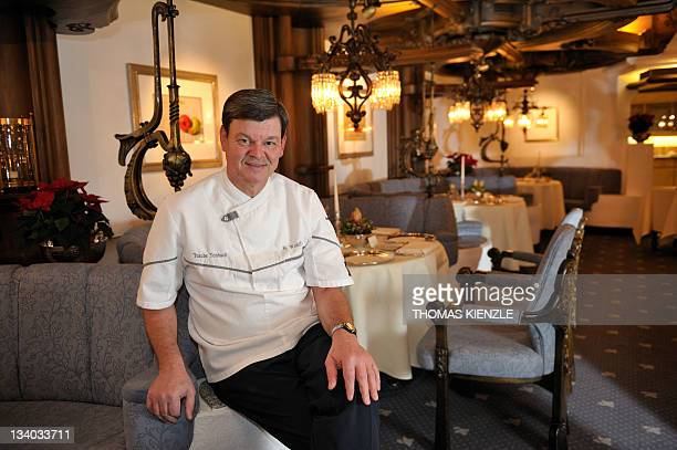 Chef Harald Wohlfahrt poses in the restaurant Schwarzwaldstube in the hotel Traube Tonbach in Baiersbronn in the Black Forest southwestern Germany on...