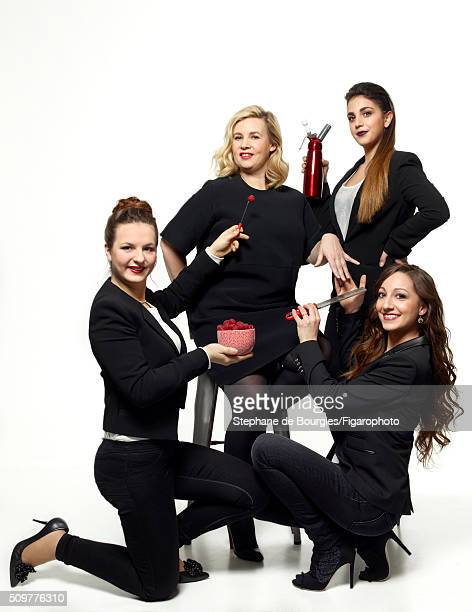 Chef Helene Darroze and contestants from Top Chef France JoyAstrid Poinsot Sarah Gade and Coline Faulquier are photographed for Madame Figaro on...