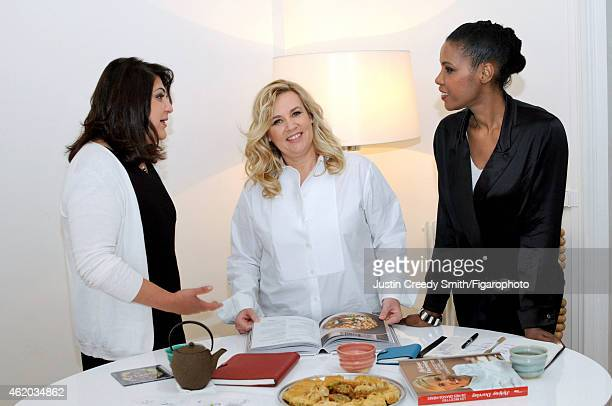Chef Helene Darroze is photographed with friends Chékéba Hachemi and Suzy Palatin for Madame Figaro on November 26 2014 in Paris France PUBLISHED...