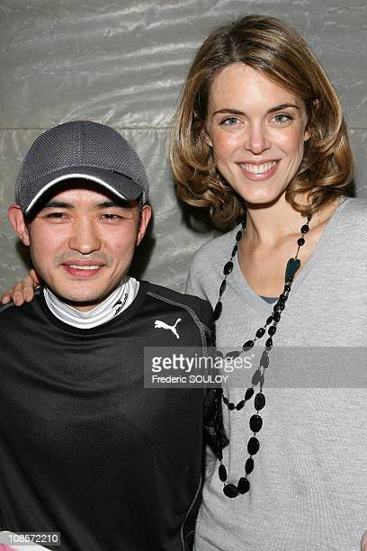 Chef Hissa Takeuchi and Julie Andrieu in Paris France on October 23 2008