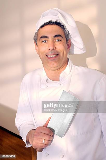 Chef holding cleaver