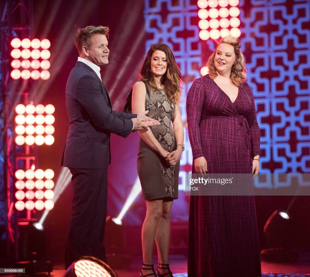 L-R: Chef / host Gordon Ramsay with contestants Ryan and Heather in the season finale of HELLS KITCHEN airing Thursday, Feb. 2 (8:00-9:01 PM ET/PT) on FOX.