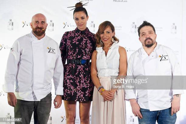 Chef Hugo Muñoz actress Dafne Fernandez Vanesa Travieso and bartender Carlos Moreno attends to presentation of new gastronomic proposal with Roku Gin...