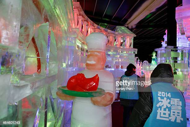 """Chef ice sculpture is displayed at """"Fantasy Ice World"""" on January 23, 2014 in Taipei, Taiwan. Ice sculptors from the famous Harbin Ice Festival..."""
