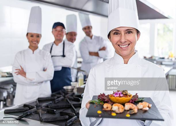 Chef introducing a dish
