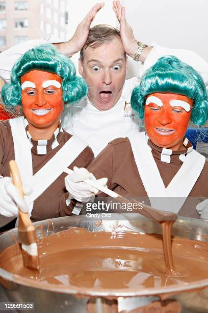Chef Jacques Torres celebrates the 40th Anniversary of Willy Wonka The Chocolate Factory with Oompa Loompas at his New York City chocolate shop event...