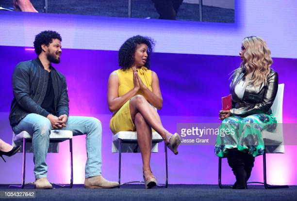 Chef Jake Smollett Writer Jazz SmollettWarwell and SUPERCHARGED Founder and CEO Kwanza Jones speak onstage at the SUPERCHARGED Summit By Kwanza Jones...